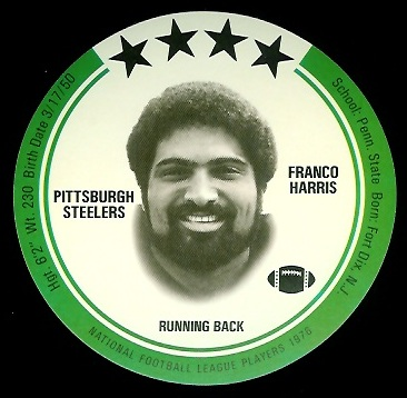 Franco Harris 1976 Buckmans Discs football card