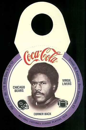 Virgil Livers 1976 Coke Bears Discs football card