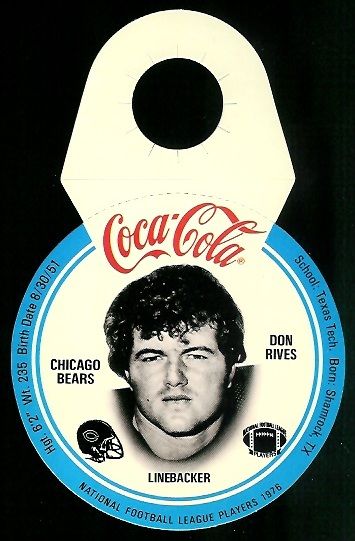 Don Rives 1976 Coke Bears Discs football card