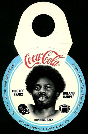 Roland Harper 1976 Coke Bears Discs football card