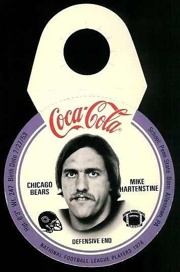Mike Hartenstine 1976 Coke Bears Discs football card