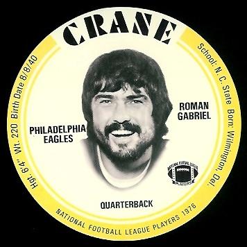 Roman Gabriel 1976 Crane Discs football card