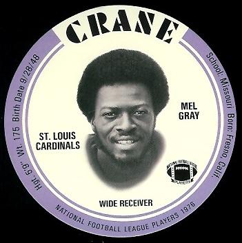 Mel Gray 1976 Crane Discs football card