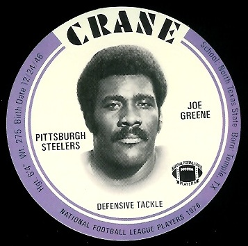 Joe Greene 1976 Crane Discs football card