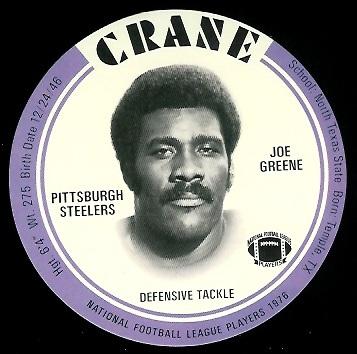 Joe Greene 1976 Crane Discs football card