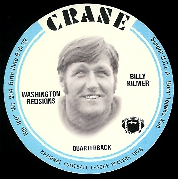 Bill Kilmer 1976 Crane Discs football card
