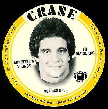 Ed Marinaro 1976 Crane Discs football card