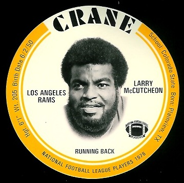Lawrence McCutcheon 1976 Crane Discs football card