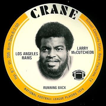 Lawrence McCutcheon 1976 Crane Discs football card