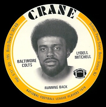 Lydell Mitchell 1976 Crane Discs football card