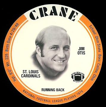 Jim Otis 1976 Crane Discs football card