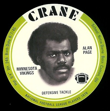Alan Page 1976 Crane Discs football card