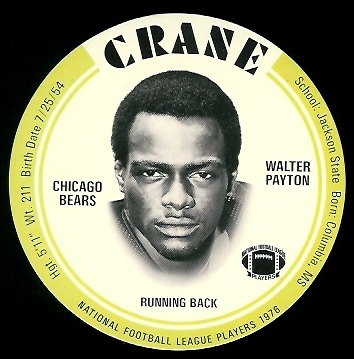 Walter Payton 1976 Crane Discs football card