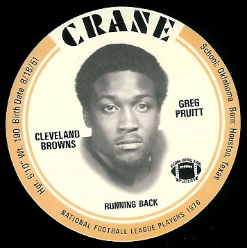 Greg Pruitt 1976 Crane Discs football card