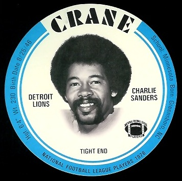 Charlie Sanders 1976 Crane Discs football card