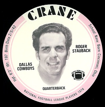 Roger Staubach 1976 Crane Discs football card
