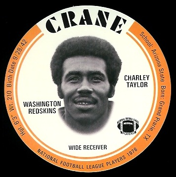 Charley Taylor 1976 Crane Discs football card