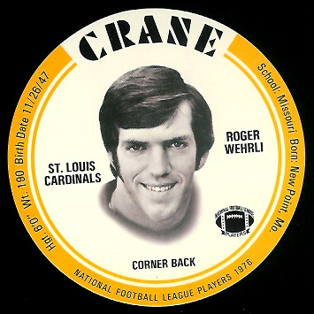 Roger Wehrli 1976 Crane Discs football card