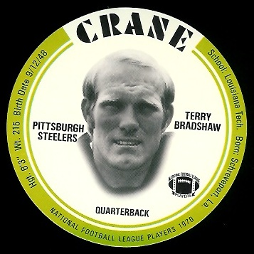 Terry Bradshaw 1976 Crane Discs football card