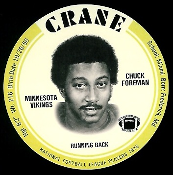 Chuck Foreman 1976 Crane Discs football card