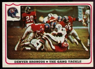 Denver Broncos - The Gang Tackle 1976 Fleer Team Action football card