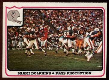 Miami Dolphins - Pass Protection 1976 Fleer Team Action football card