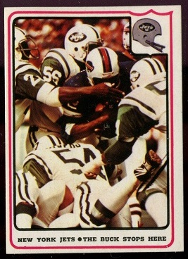 New York Jets - The Buck Stops Here 1976 Fleer Team Action football card