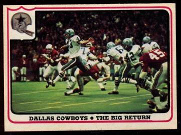 Dallas Cowboys - The Big Return 1976 Fleer Team Action football card