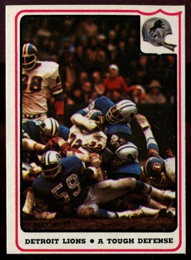 Detroit Lions - A Tough Defense 1976 Fleer Team Action football card