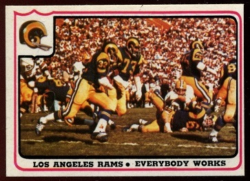 Los Angeles Rams - Everybody Works 1976 Fleer Team Action football card