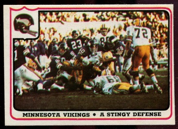 Minnesota Vikings - A Stingy Defense 1976 Fleer Team Action football card