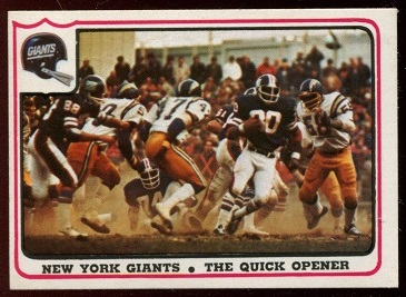New York Giants - The Quick Opener 1976 Fleer Team Action football card