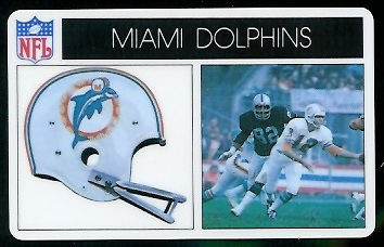 Miami Dolphins 1976 Popsicle football card