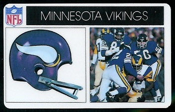 Minnesota Vikings 1976 Popsicle football card