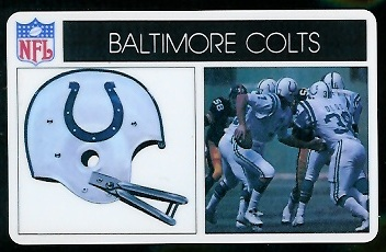 Baltimore Colts 1976 Popsicle football card