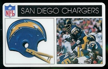 San Diego Chargers 1976 Popsicle football card