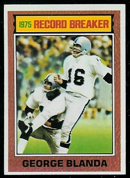 George Blanda: Record Breaker 1976 Topps football card