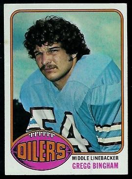 Gregg Bingham 1976 Topps football card