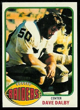 Dave Dalby 1976 Topps football card