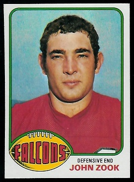 John Zook 1976 Topps football card
