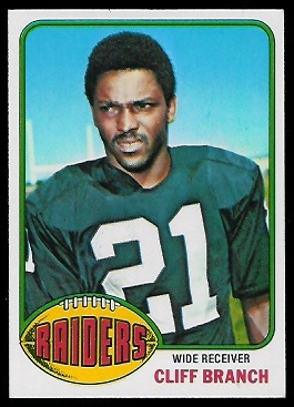 Cliff Branch 1976 Topps football card