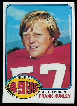 Frank Nunley 1976 Topps football card