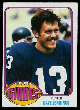 Dave Jennings 1976 Topps football card