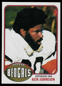 Ken Johnson 1976 Topps football card