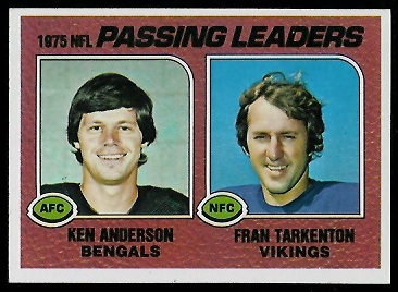 1975 Passing Leaders 1976 Topps football card