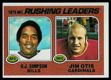 1975 Rushing Leaders 1976 Topps football card