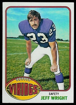 Jeff Wright 1976 Topps football card