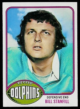 Bill Stanfill 1976 Topps football card