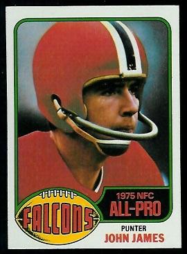 John James 1976 Topps football card