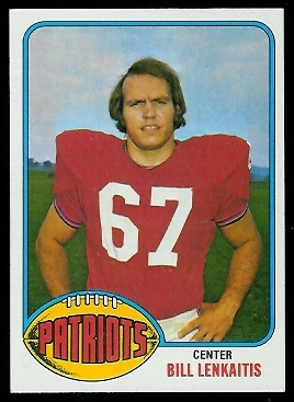 Bill Lenkaitis 1976 Topps football card